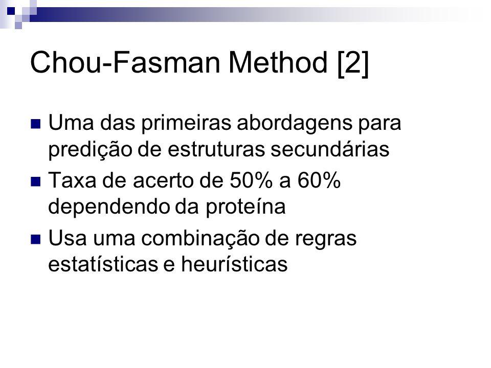 Chou-Fasman Method [2] Uma das primeiras abordagens para predição de estruturas secundárias. Taxa de acerto de 50% a 60% dependendo da proteína.